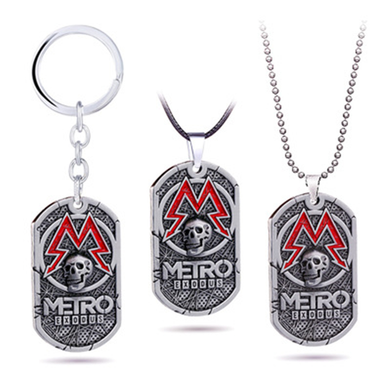 PC Game Metro Exodus 2033 Necklace Dog Tag Pendant Leather Metal Chain Men Necklaces Charm Gifts for Kids Games Jewelry Pendant Necklaces     - AliExpress