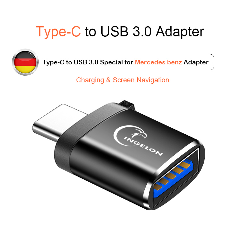 Type C To USB 3.0 Adapter Charge Data Converter For Mercedes Benz CLA GLA/B/C/E/S/K Class W204 W205 W211 W212 A250/200 C300 W177