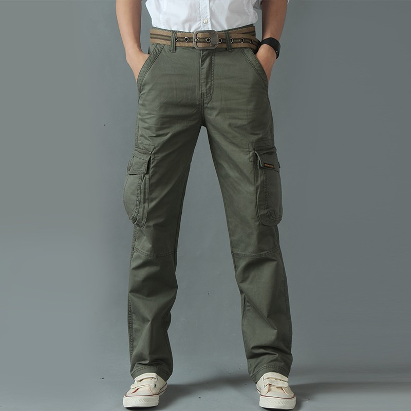 Cargo Pants Tactical Combat Male Men Overalls Army Military Many Pockets Casual Trousers Sweatpants Zip Camouflage Loose Worker