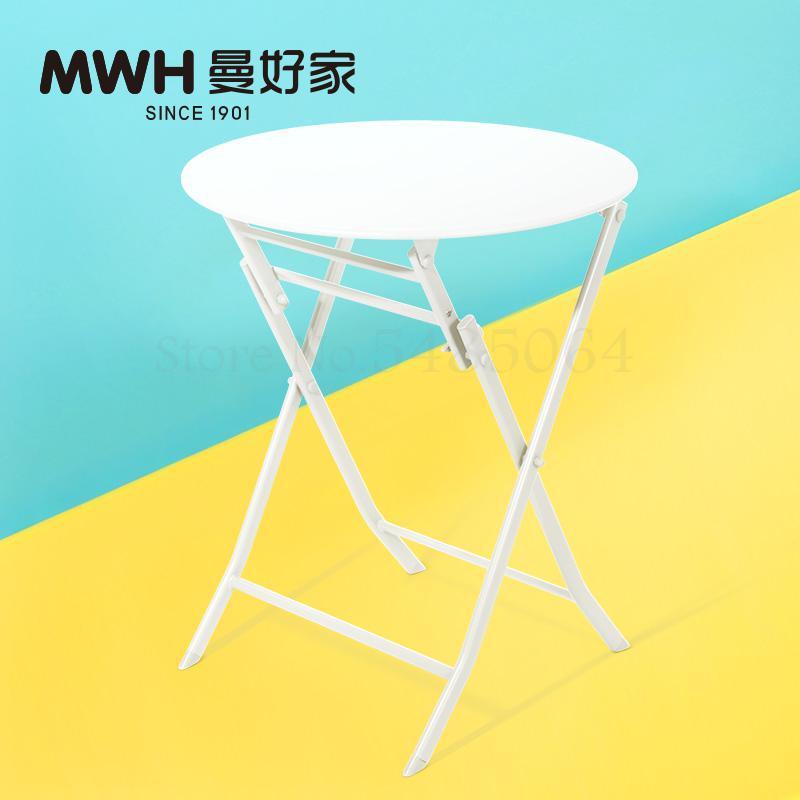 Железный маленький стол, складной небольшой квадратный стол, простой маленький круглый стол, журнальный столик для спальни, маленький обеденный стол для балкона - Цвет: Sparks Fy 7