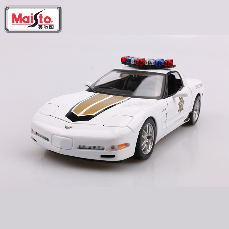 <font><b>1</b></font>/<font><b>18</b></font> Corvette Z06 Police Car Miniature Cars Metal Diecast Model Alloy Mini Car Collection Toy <font><b>Voiture</b></font> Cars Decoration For Home image