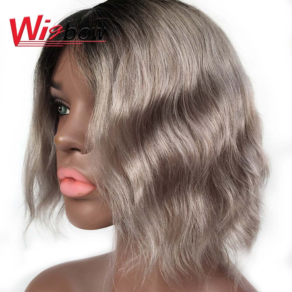 Short Human Hair Wigs Peruvian Natural Wave Remy Hair Grey Color Wig Hair Short  Wigs For Woman