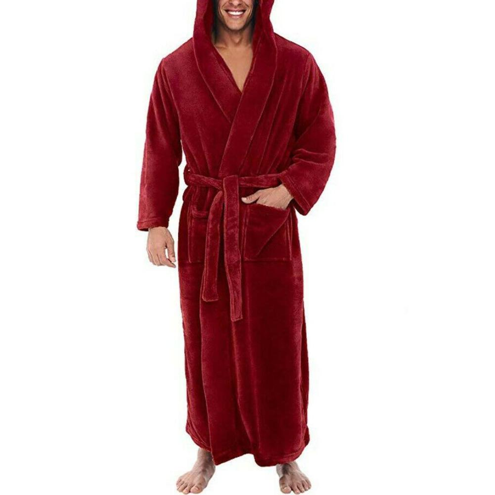 Winter Warm Bath Robe Men Bathrobe Nightgown Soft Coral Fleece Hooded Bathrobes Long Bath Robe Men's Bathrobe Home Sleepwear