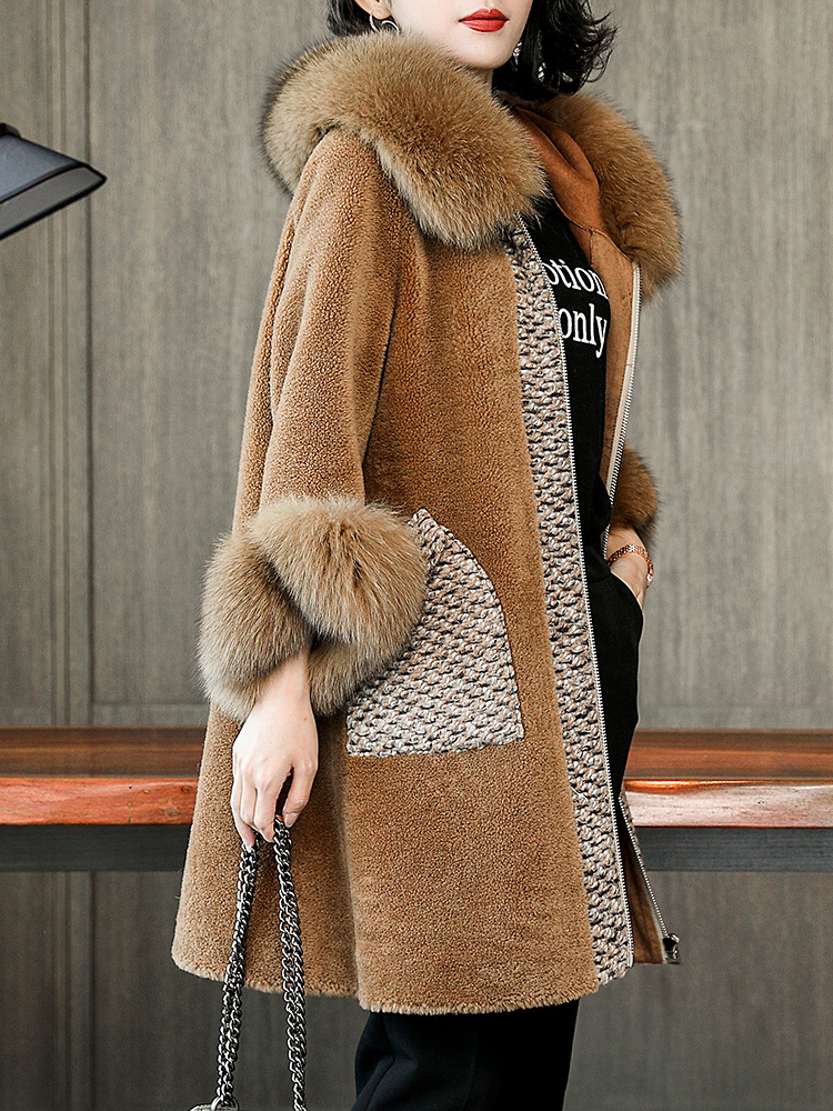Sheep Shearing Overcoat 2020 Women Clothes Rear Fur Coat Women Winter Long Parka Real Fox Fur Collar Female Wool Jacket LX2560