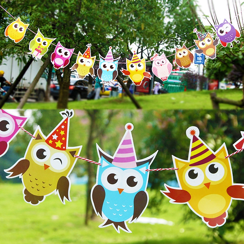 10pcs/Set Owl Pulling Flag Children's Birthday Party Decoration DIY Paper String Banner Cartoon Bunting Room Dress Up Supplies