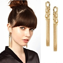 Fashion thick chain long women earrings simple elegant girl drop earrings wedding party gold jewelry accessories trendy women jewelry earrings ear line 18k gold chain with star pendant charms drop earrings fashion wedding earring