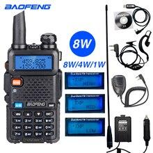 High Power 8W Baofeng UV 5R Walkie Talkie 10KM แบบพกพา CB HAM สถานีวิทยุ VHF UHF HF Transceiver การล่าสัตว์ UV5R Two WAY วิทยุ
