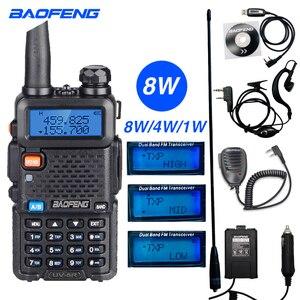 Image 1 - High Power 8W Baofeng UV 5R Walkie Talkie 10KM Portable CB ham Radio Station VHF UHF HF Transceiver Hunting UV5R Two Way Radio