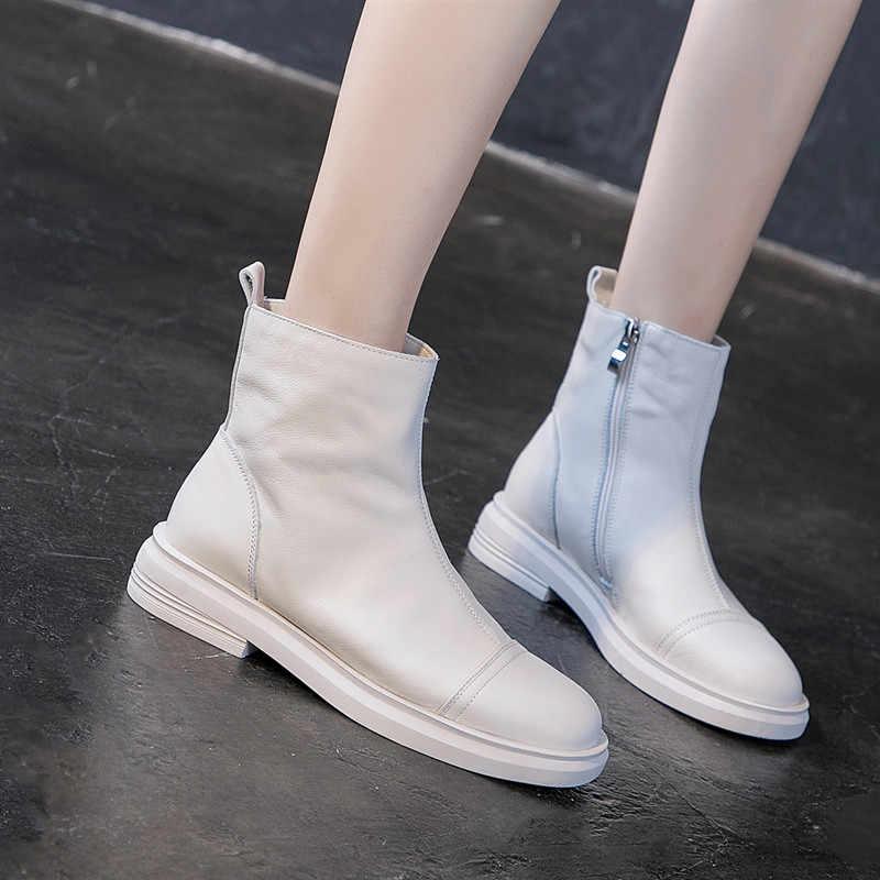 2020 Winter Women Boots Side Zip White