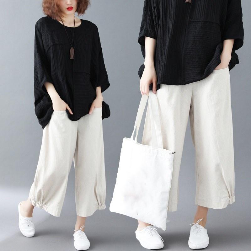 2019 Summer Casual Pocket Elastic Waist Wide Leg Trousers Wide Leg Pants Casual Women Ankle Length Cotton Linen Loose Pants