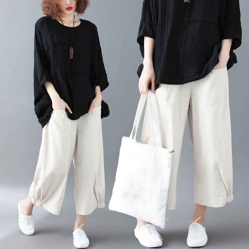 2019 Summer Casual Pocket Elastic Waist   Wide     Leg   Trousers   Wide     Leg     Pants   Casual Women Ankle Length Cotton Linen Loose   Pants