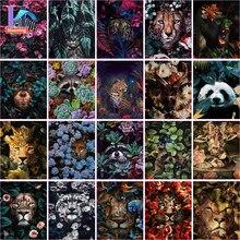 Peinture Par Numéros Avec Bricolage Animaux Dans Les Fleurs Images D'huile Bricolage Peinture Dessin Peinture Par Numéros Encadrée Décor À La Maison