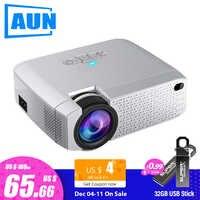 AUN mini projecteur LED D40W, projecteur vidéo pour les cinémas à la maison. 1600 Lumens, prise en charge HD, affichage de synchronisation sans fil pour téléphone iPhone/Android