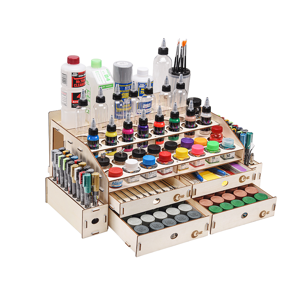 OPHIR Wood Acrylic Paints Rack Artist Supply Paint Rack Stand With Mark Pen Storage Rack Pigment Rack MG062