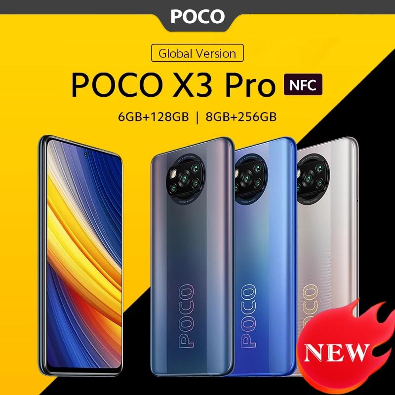 Глобальная версия POCO X3 Pro NFC мобильный телефон 6 ГБ 128 ГБ/8 ГБ 256 Snapdragon 860 120 Гц DotDisplay 48MP Камера 5160 Батарея 732 г