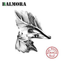 BALMORA Real 925 Sterling Silver Vintage Leaf Open Stacking Rings for Women Men Couples Gift Cool Punk Fashion Jewelry Anillos