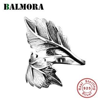 BALMORA prawdziwe 925 Sterling Silver Vintage liść otwarte pierścienie do układania dla kobiet mężczyzn pary prezent fajne moda Punk biżuteria Anillos