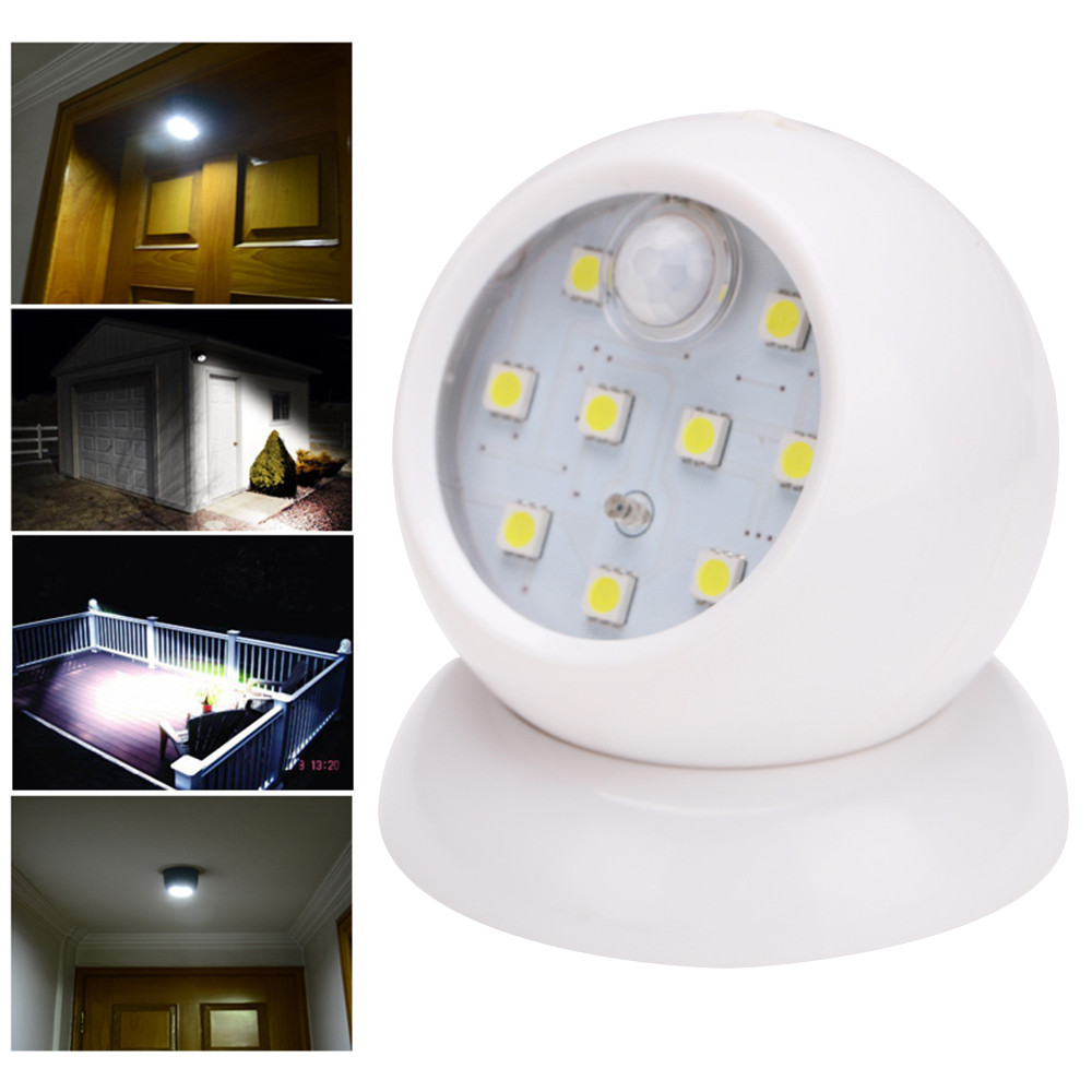 Hot Sale 360 Degrees Rotary Motion Sensor Light Activated Cordless Sensor COB Light Indoor Outdoor Garden Wall Patio Shed Lights