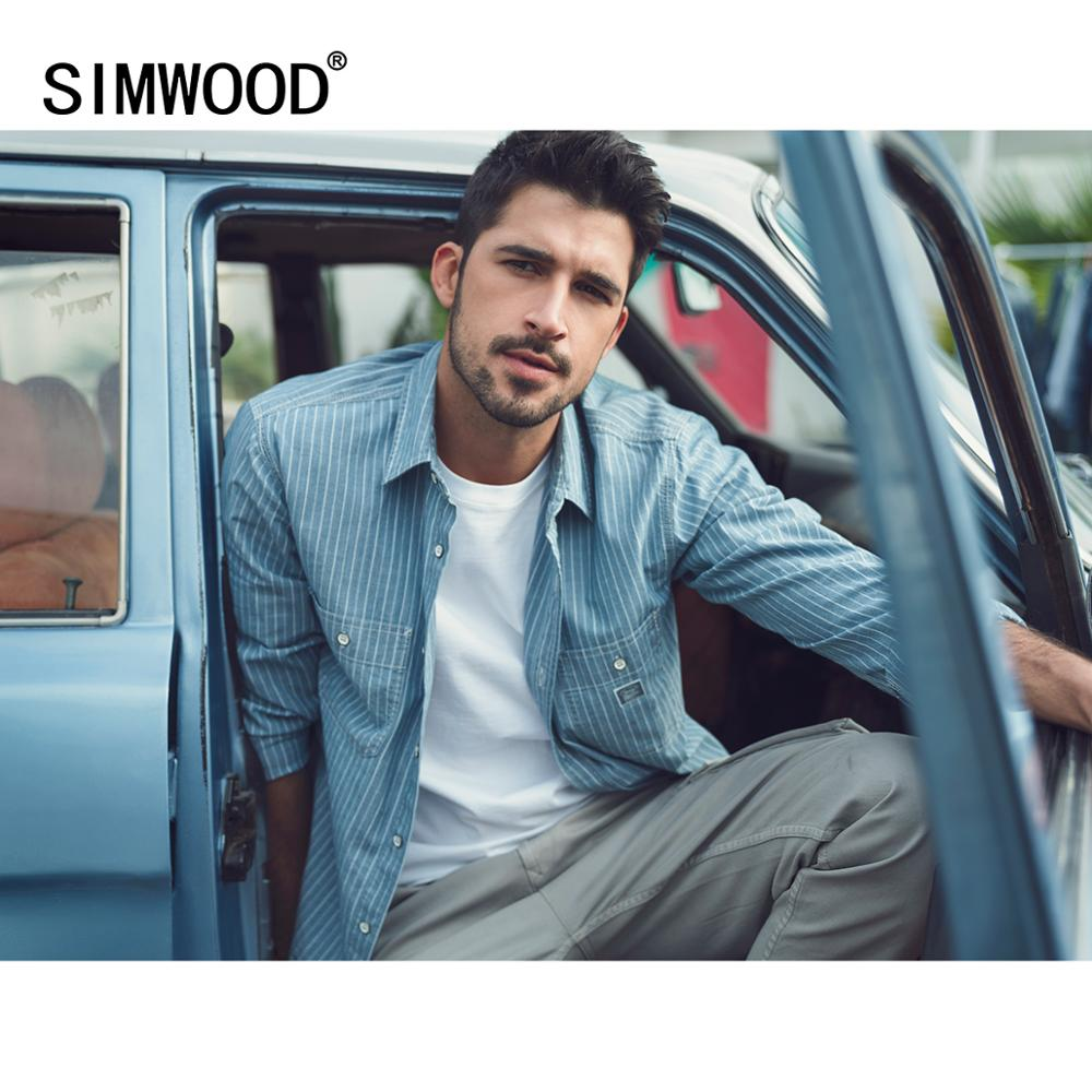 SIMWOOD 2020 Spring New Blue Vertical Striped Shirts Men Chest Pockets Casual Plus Size 100% Cotton Breathable Shirt SJ130244