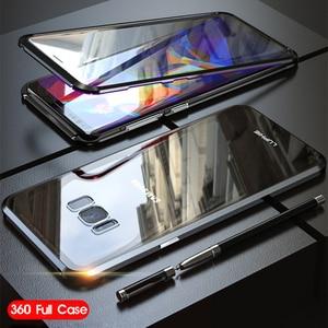 Image 2 - 360 Đầy Đủ Từ Ốp Lưng Dành Cho Samsung Galaxy Samsung Galaxy S8 Plus S8Plus S9 Note 9 8 Note9 Note8 Kim Loại Ốp Lưng Kính Cường Lực dành Cho Samsung S8 Ốp Lưng Trên
