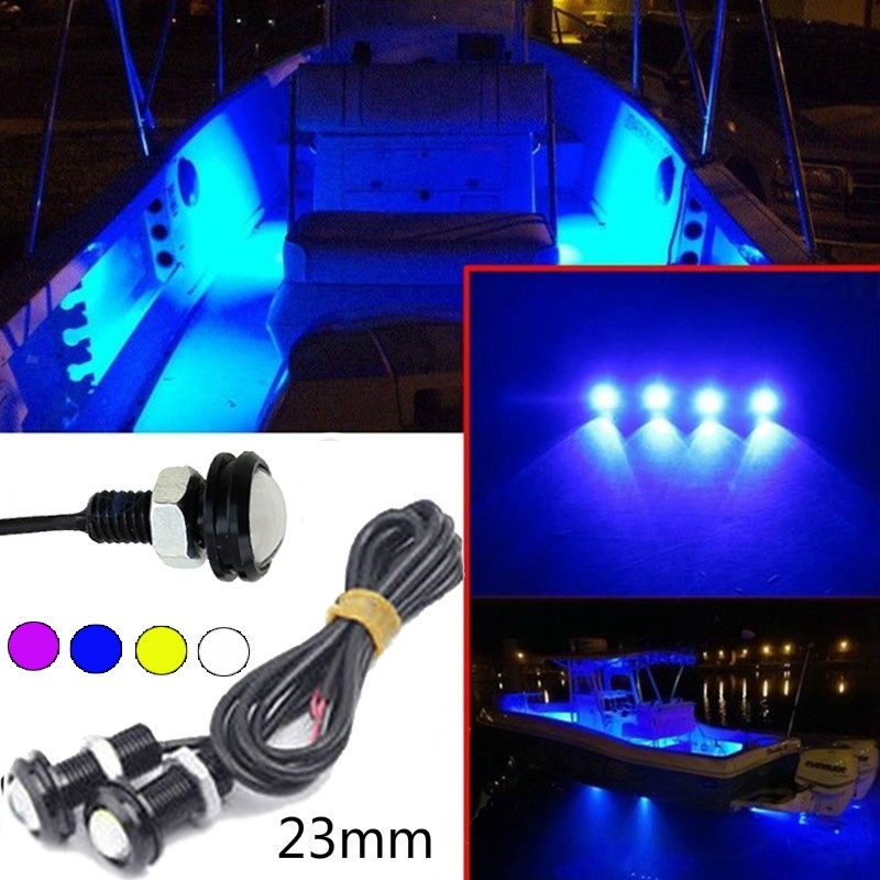 2Pcs 23MM LED Boat Light Waterproof Outrigger Spreader Transom Under Water Troll (Colors:Purple/Blue/Yellow/White )