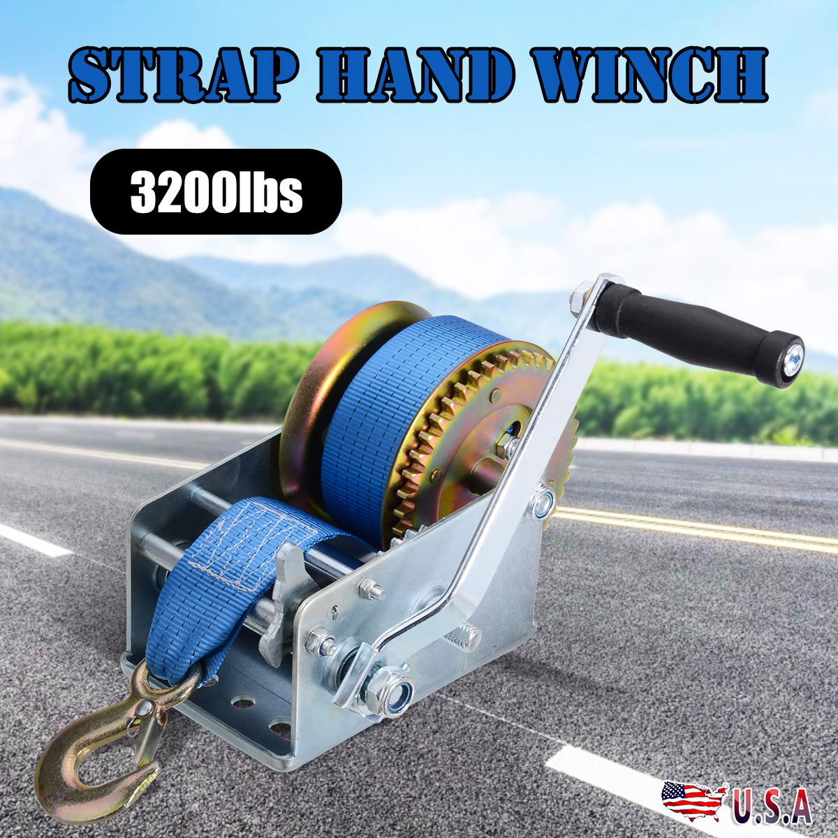 3200lbs Dual Gear Hand Winch 2 Gear Polyester Strap Hand Crank Gear Winch For Trailer ATV Boat Lifting Tool Accessories
