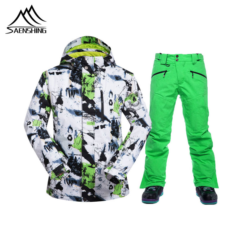 SAENSHING Winter Ski Suit Men High Quality Ski Jacket +Pants Snow Warm Waterproof Windproof Skiing Snowboarding Male Ski Suits
