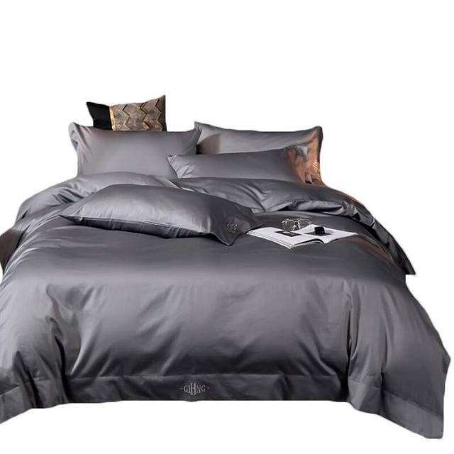 Navy Blue Soft Egypt Cotton Bedding Set King Queen Embroidere Hotel Duvet cover Bed sheet Pillowcases Solid color Home Bed linen