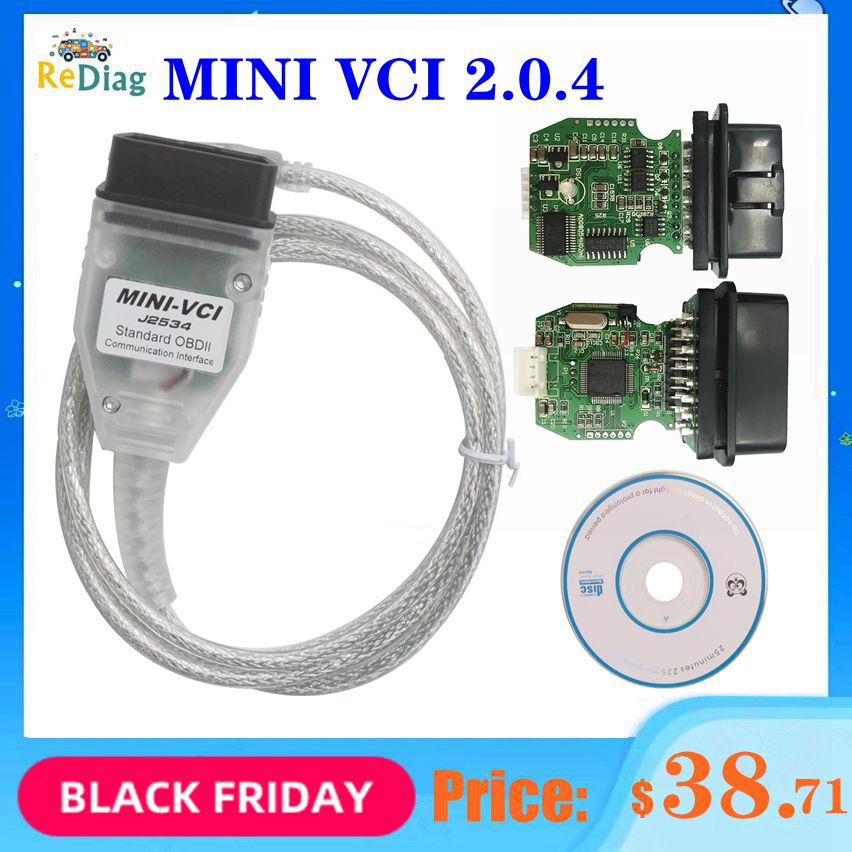 Real Firmware V2.0.4 MINI VCI Newest V14.10.028 MINI-VCI FTDI FT232RL Multi-Language For Toyota TIS Techstream Code Reader