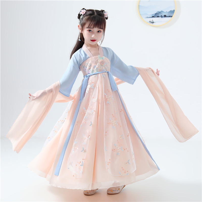 Tang Costume Hanfu Girl New Year Clothes Chinese Traditional Costume Chiffon Embroidered Dress Cos Cltothing TV Shooting Skirt