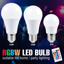 Led RGB Lamp Bulb 5W 10W 15W Led Lampada E27 Dimmable Smart Control Light 110V Color Changing Lamp RGBW Magic Bulb Home Party