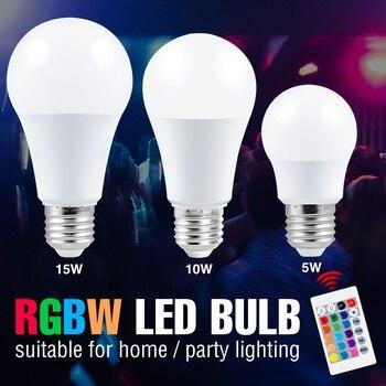 Led RGB Lamp Bulb 5W 10W 15W Led Lampada E27 Dimmable Smart Control Light 110V Color Changing Lamp RGBW Magic Bulb Home Party new rgb led lamp 3w 5w 7w e27 rgb led light bulb 110v 220v smd5050 multiple color remote control rgb lampada led a65 a70 a80