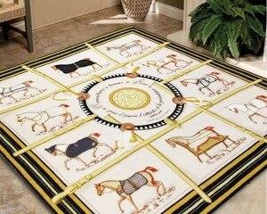 Классический ковер H Horse для гостиной, диван, коврик для кофейного стола, нескользящий напольный коврик