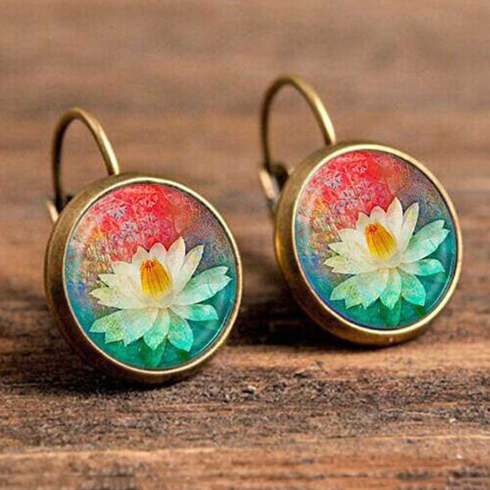 Hc65d20aa0a2f42d9bba0495143197e8cP - FSUNION Boho Flower Drop Earrings For Women Vintage Jewelry Geometric Pattern Round Earings Bijoux boucles d'oreilles bohemia