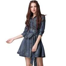 Женское короткое джинсовое платье с поясом винтажное Плиссированное
