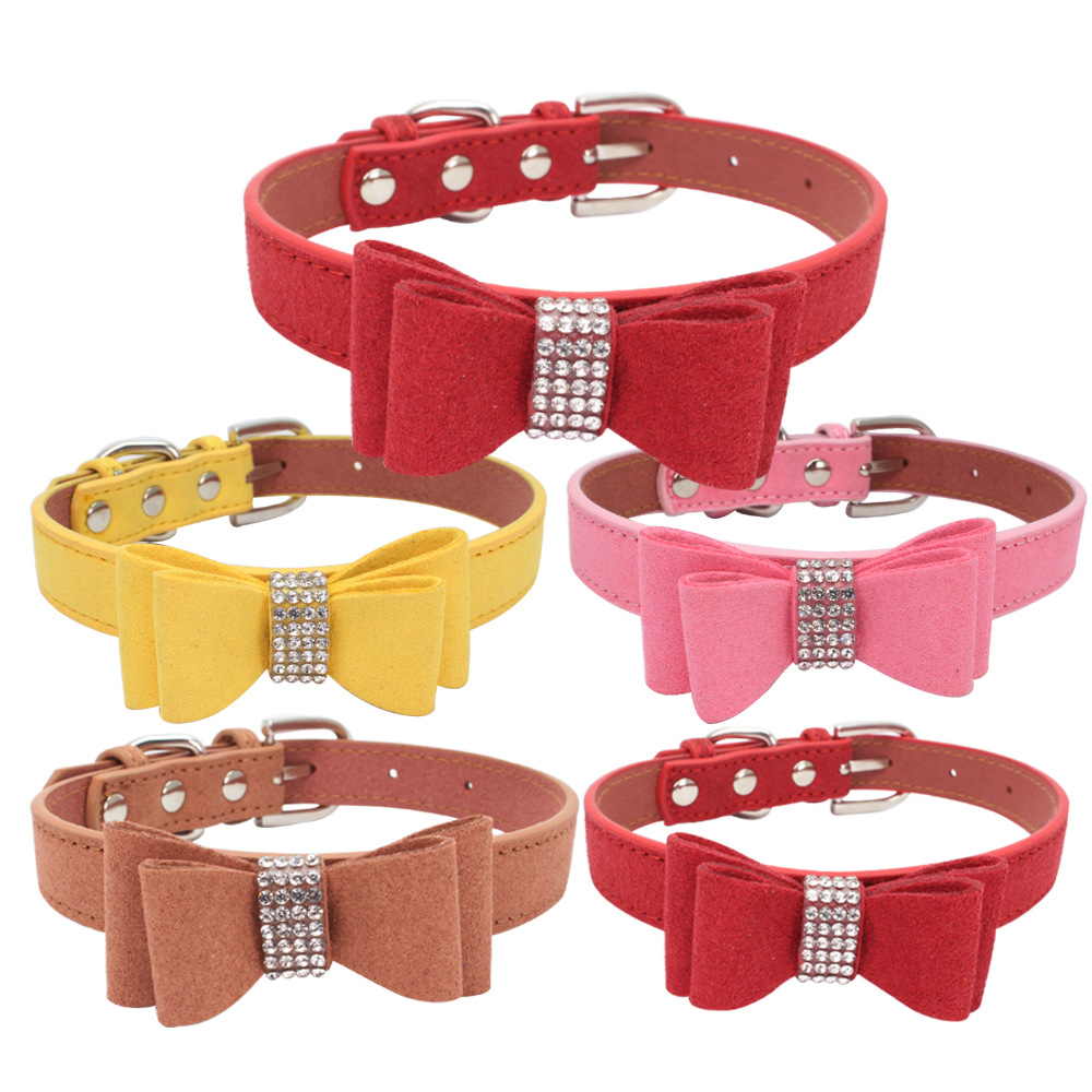 Jin Ling Jie Man-made Diamond Dog Neck Ring Double Layer Bow Pet Collar Microfiber Soft And Comfortable Dog Chain Large Amount P