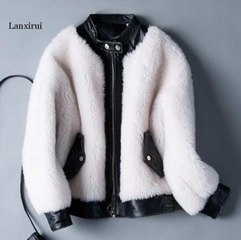 Winter Woman Faux Fur Coat Warm Short Fur Leather Parka Fashion Women Thick Outerwear Fmme Warm Leather Jacket P1350