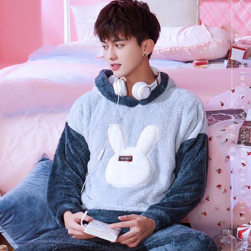 Pajamas Men's Sleepwear Suit Thickened Flannel Autumn Winter Lovely Nightwear Long Sleeve Korean Casual Home Clothes Set H5642