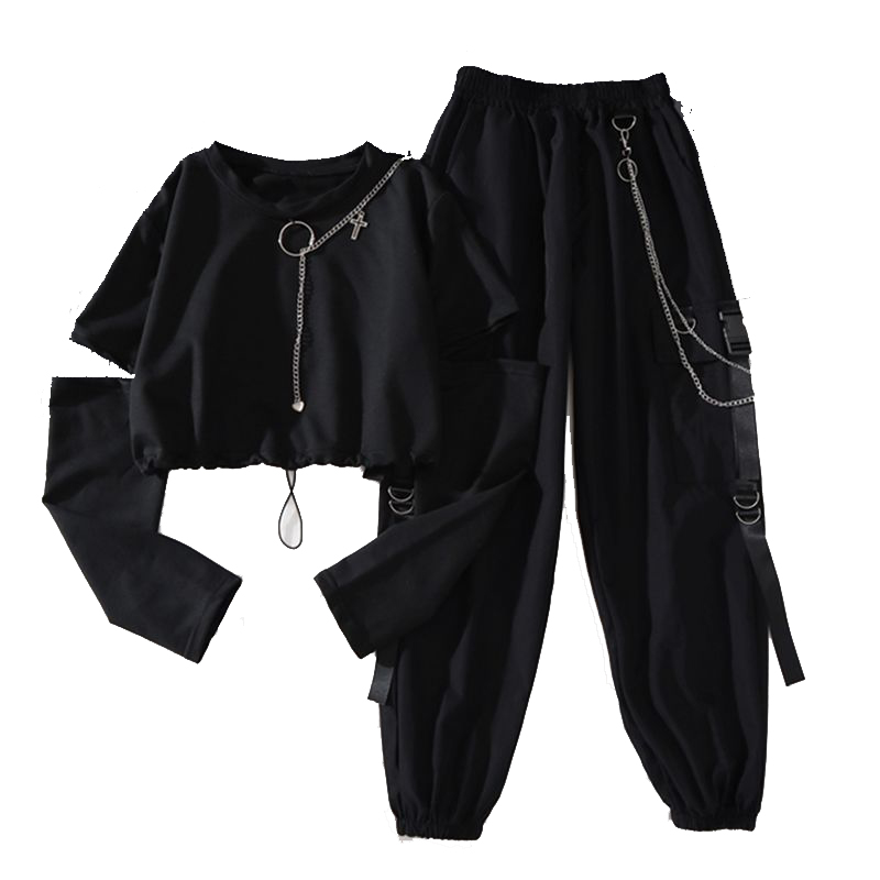Cargo-Pants Suit Chain Spring Long-Sleeve Cool Women Harajuku Two-Piece Autumn Handsome
