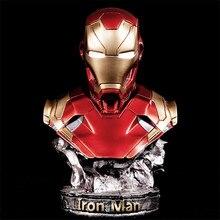 Grande 36cm Resina Iron Man Estatua Luminous Eyes Juguete Decoración Del Hogar Figura Modelo Vengadores Estatuilla Cumpleaños Re