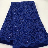 Dark blue African Lace Fabric High Quality French Tulle Lace Fabric 2019 Nigerian Sequins Laces Embroidery Net Fabric For Dress