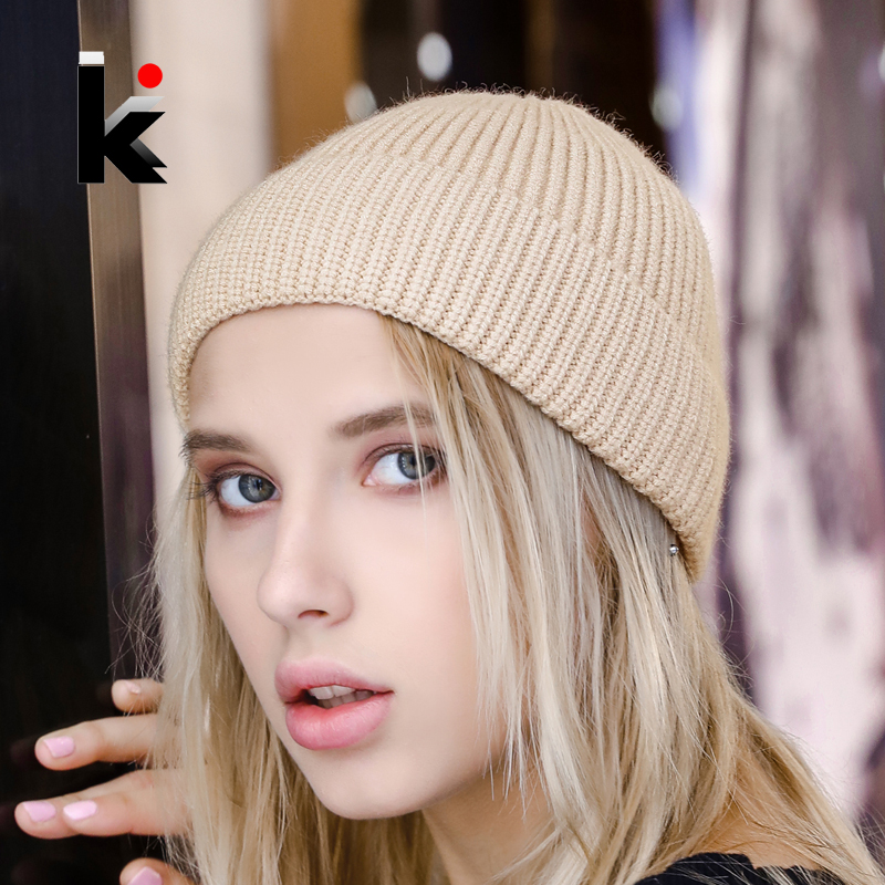 Beanies Women Skullcap-Hat Hip-Hop-Hats Knitted Girls Fashion Lovers' Solid Casual