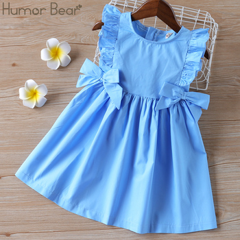 Humor Bear Baby Summer Dress 2020 Brand New Girls' Clothing Ruffle Sleevele Princess Frocks Big-bow Fashion Kids Baby Girl Dress 1