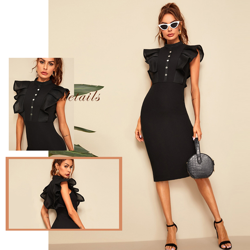 Sheinside Elegant Button Up Pencil Dress Women 19 Summer Layered Ruffle Trim Detail Bodycon Dresses Ladies Solid Midi Dress 4