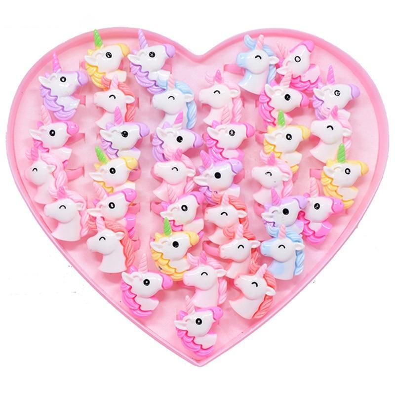 Детские открытые кольца в виде животных, единорога, лошади, 20 шт./лот, регулируемые акриловые украшения для девочек, подарок на день рождения
