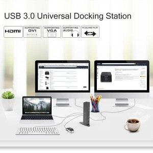 Image 4 - Uniwersalna stacja dokująca Full HD 2048x1152 USB 3.0 + RJ45/DVI/HDMI/VGA/MIC/Port Audio DisplayLink Gigabit Ethernet praca Online
