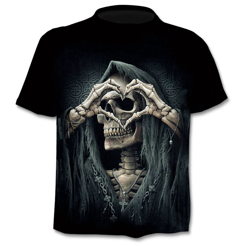 2019 New T-shirt 3D Love Skull Summer Horror Shirt Male Summer Tee Quality Camiseta Short-sleeved O-neck Men's Hip-hop Shirt