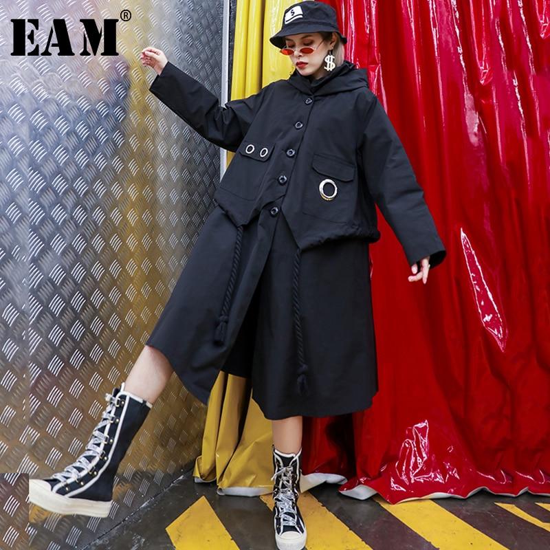 [EAM] Women black big size Trench New hooded three-quarter batwing Sleeve Loose Fit Windbreaker Fashion Autumn Winter 2019 1B298