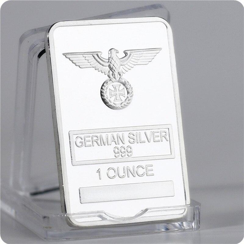 Raro 1 onça alemão prata 999 liberdade águia totem prata chapeado barra transversal com cápsulas de proteção acrílica