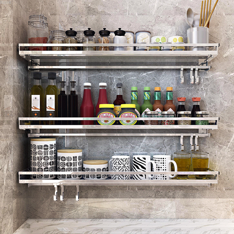 304 Stainless Steel Kitchen Rack Wall Hanging Type Punch Free Seasoning Frame Save Space Supplies Wall Mounted Kitchen Rack